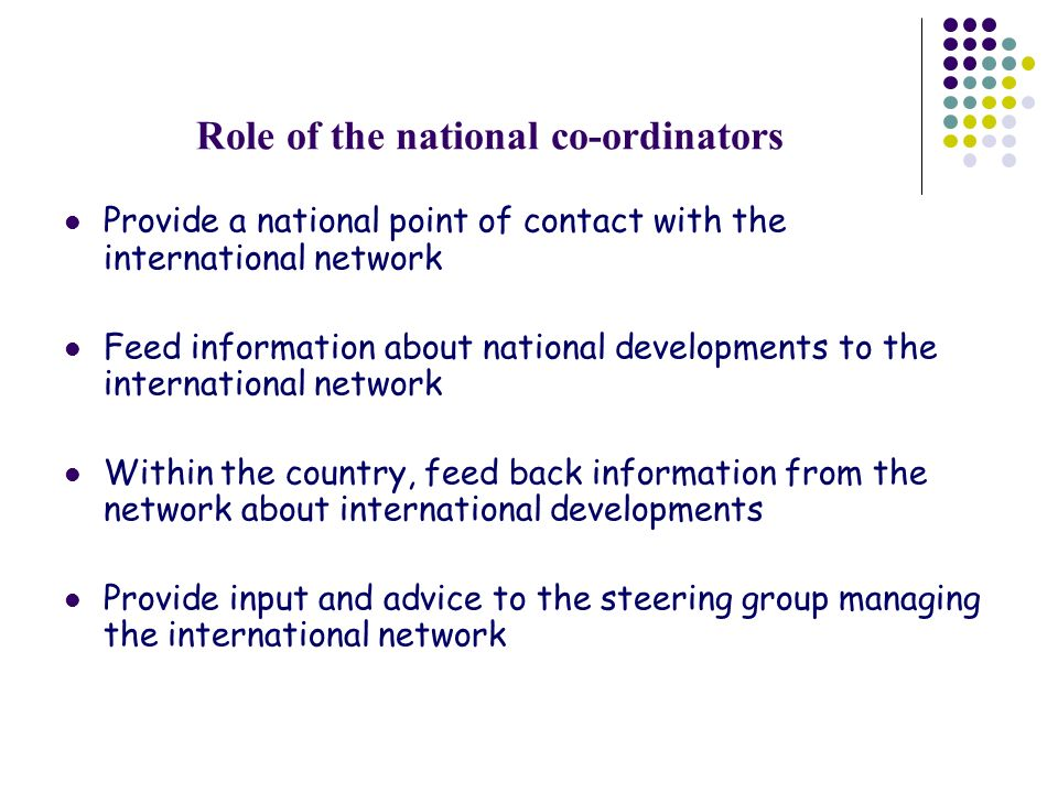 Role of the national co-ordinators Provide a national point of contact with the international network Feed information about national developments to