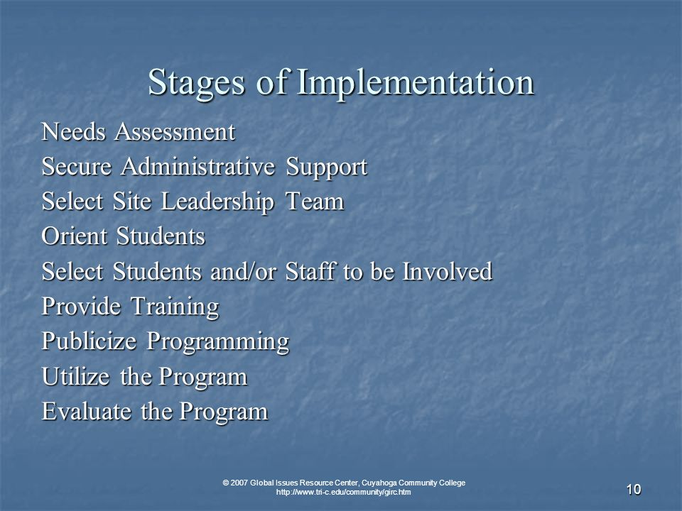 © 2007 Global Issues Resource Center, Cuyahoga Community College   10 Stages of Implementation Needs Assessment Secure Administrative Support Select Site Leadership Team Orient Students Select Students and/or Staff to be Involved Provide Training Publicize Programming Utilize the Program Evaluate the Program
