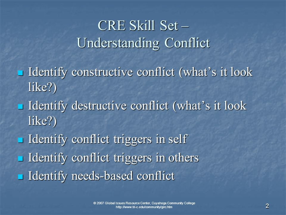 © 2007 Global Issues Resource Center, Cuyahoga Community College http://www.tri-c.edu/community/girc.htm 3 CRE Skill Set – Understanding Emotion in Conflict Building emotional vocabulary Building emotional vocabulary Increasing emotional self-awareness (what are my emotions?) Increasing emotional self-awareness (what are my emotions?) Increasing emotional other awareness (reading their emotions) Increasing emotional other awareness (reading their emotions) Increasing cultural sensitivity to emotions (seeing how culture effects emotions and expression) Increasing cultural sensitivity to emotions (seeing how culture effects emotions and expression) Identifying emotional triggers to conflict Identifying emotional triggers to conflict Using the emotional escalation/de-escalation ladder Using the emotional escalation/de-escalation ladder Identify your anger style Identify your anger style Self-soothing/calming strategies Self-soothing/calming strategies Verbally expressing anger (appropriately) Verbally expressing anger (appropriately) Using questions to identify feelings (for self and other) Using questions to identify feelings (for self and other) Using questions to work through conflict (self and other) Using questions to work through conflict (self and other)