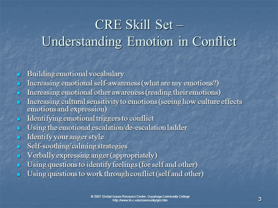 © 2007 Global Issues Resource Center, Cuyahoga Community College http://www.tri-c.edu/community/girc.htm 4 CRE Skill Set – Communication Paraphrasing Paraphrasing Summarizing Summarizing Listening for Feelings Listening for Feelings Perception Checking Perception Checking Open v.