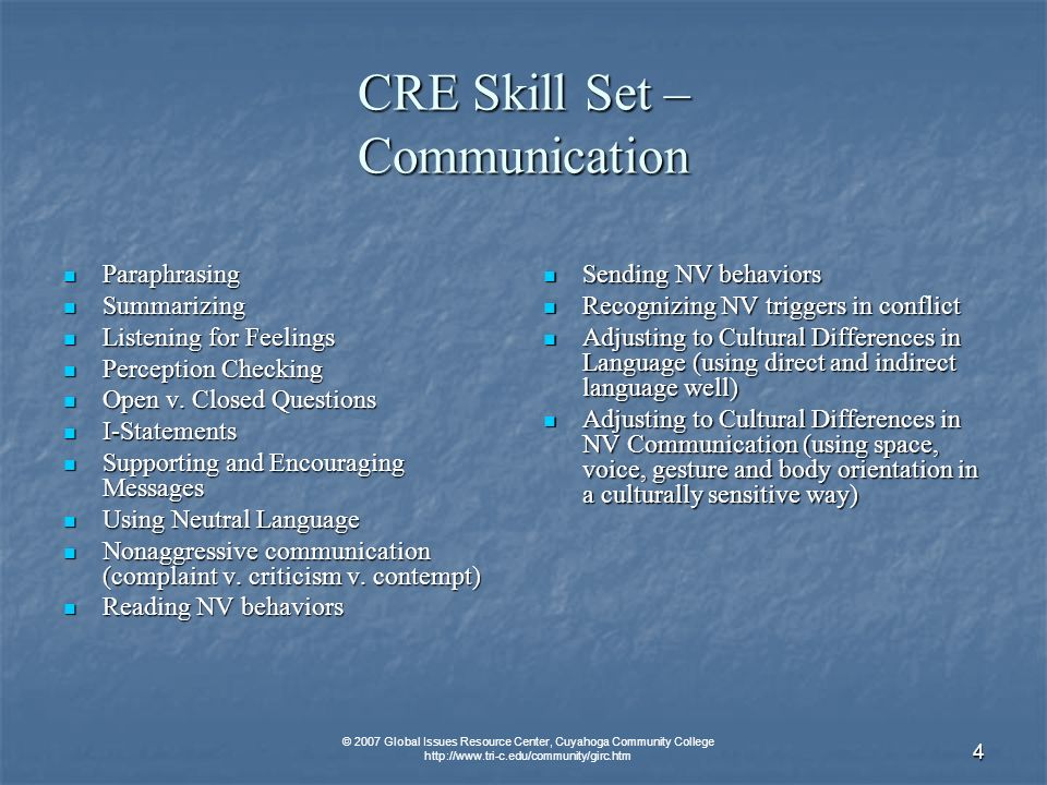 © 2007 Global Issues Resource Center, Cuyahoga Community College   4 CRE Skill Set – Communication Paraphrasing Paraphrasing Summarizing Summarizing Listening for Feelings Listening for Feelings Perception Checking Perception Checking Open v.