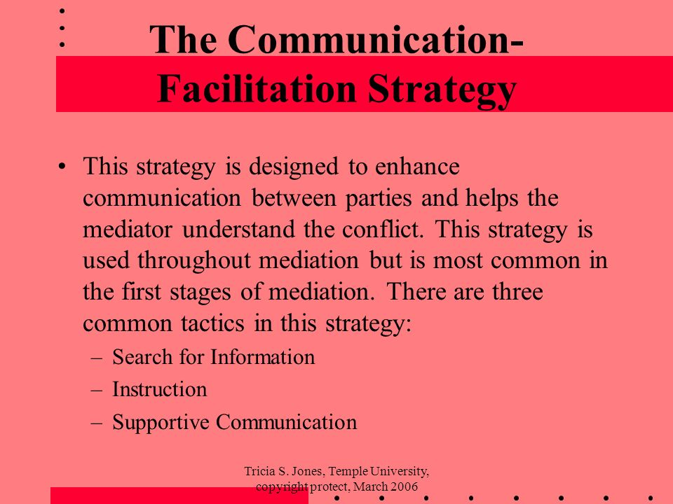 Tricia S. Jones, Temple University, copyright protect, March 2006 The Communication- Facilitation Strategy This strategy is designed to enhance commun