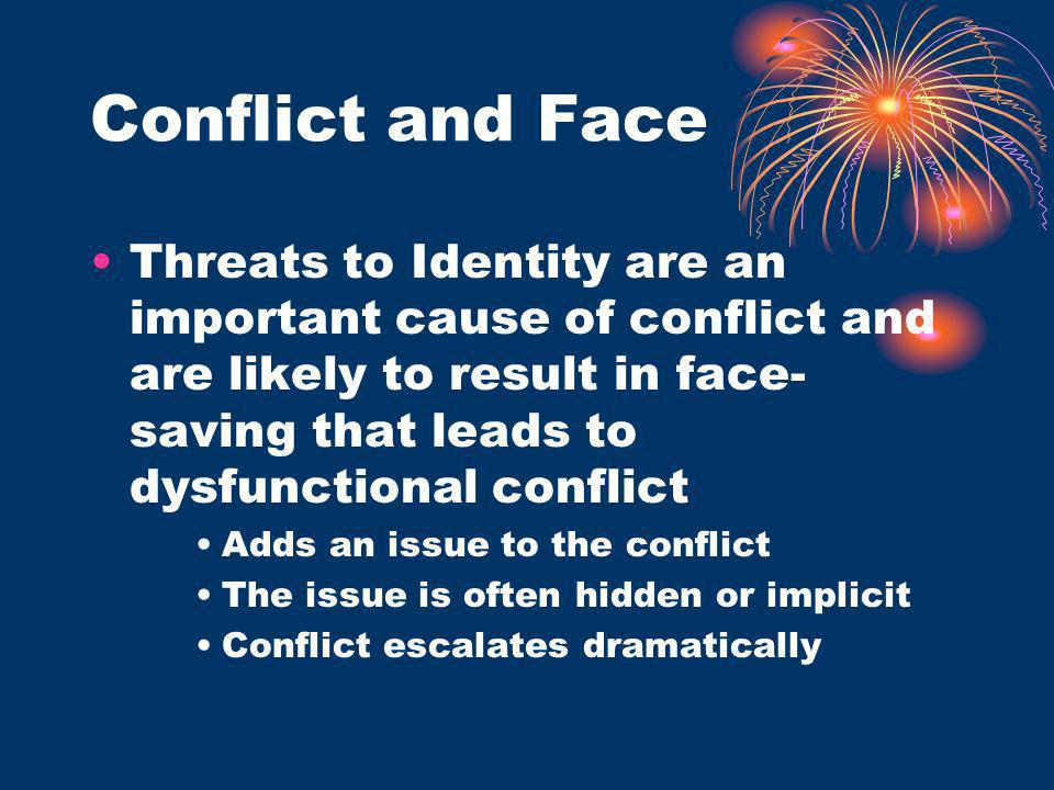Conflict and Face Threats to Identity are an important cause of conflict and are likely to result in face- saving that leads to dysfunctional conflict