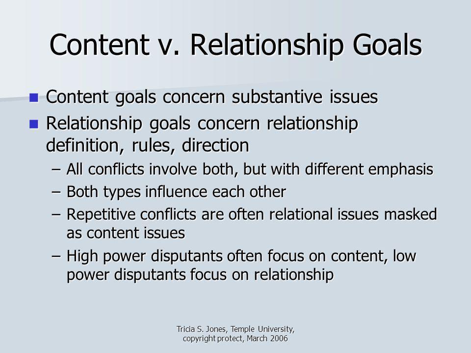 Tricia S. Jones, Temple University, copyright protect, March 2006 Content v. Relationship Goals Content goals concern substantive issues Content goals