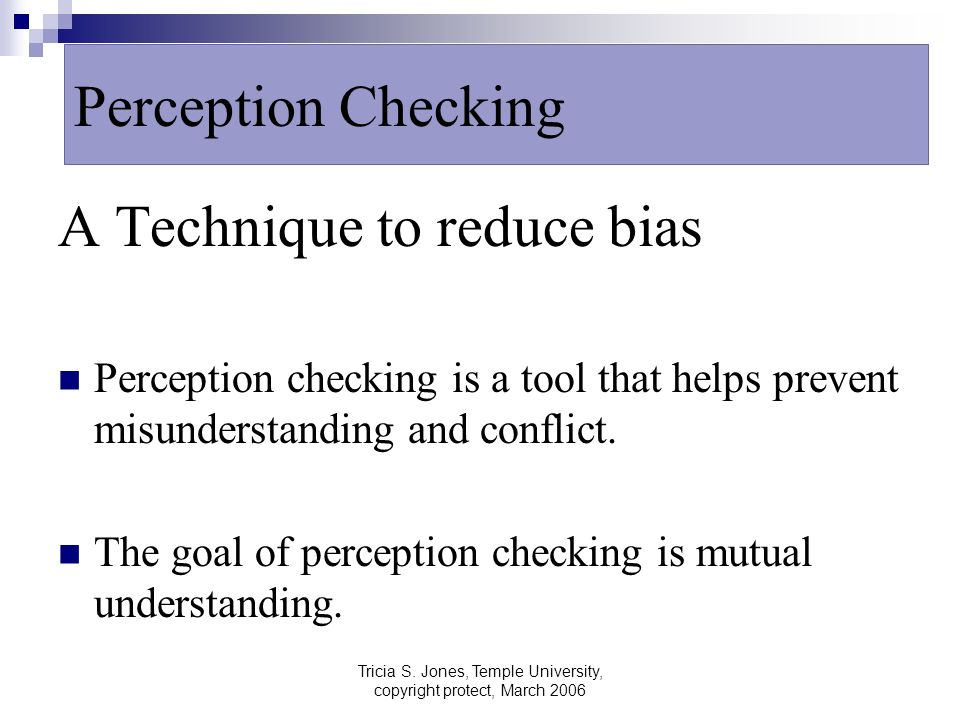 Tricia S. Jones, Temple University, copyright protect, March 2006 A Technique to reduce bias Perception checking is a tool that helps prevent misunder
