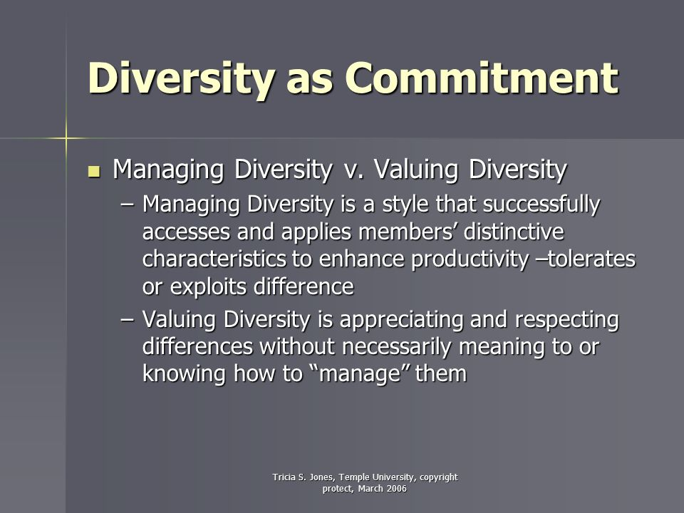 Tricia S. Jones, Temple University, copyright protect, March 2006 Diversity as Commitment Managing Diversity v. Valuing Diversity Managing Diversity v