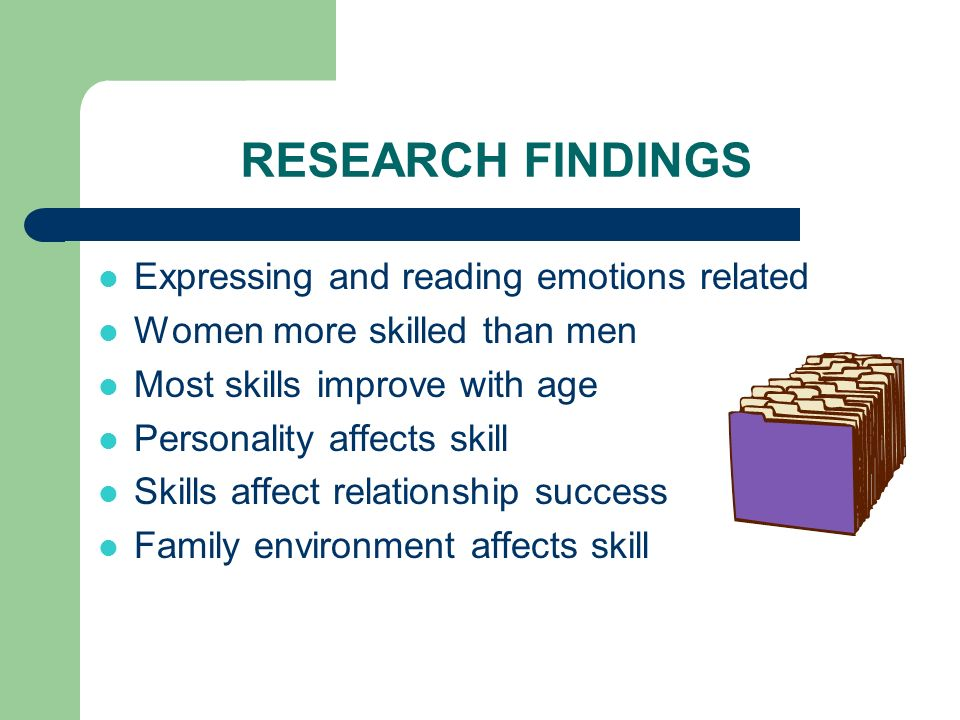 RESEARCH FINDINGS Expressing and reading emotions related Women more skilled than men Most skills improve with age Personality affects skill Skills af