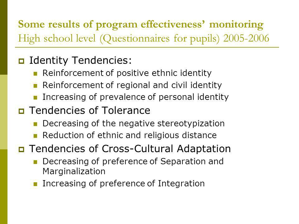 Some results of program effectiveness monitoring High school level (Questionnaires for pupils) 2005-2006 Identity Tendencies: Reinforcement of positive ethnic identity Reinforcement of regional and civil identity Increasing of prevalence of personal identity Tendencies of Tolerance Decreasing of the negative stereotypization Reduction of ethnic and religious distance Tendencies of Cross-Cultural Adaptation Decreasing of preference of Separation and Marginalization Increasing of preference of Integration