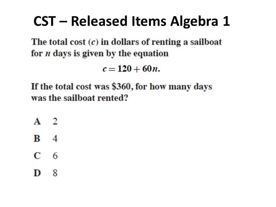 CST – Released Items Algebra 1