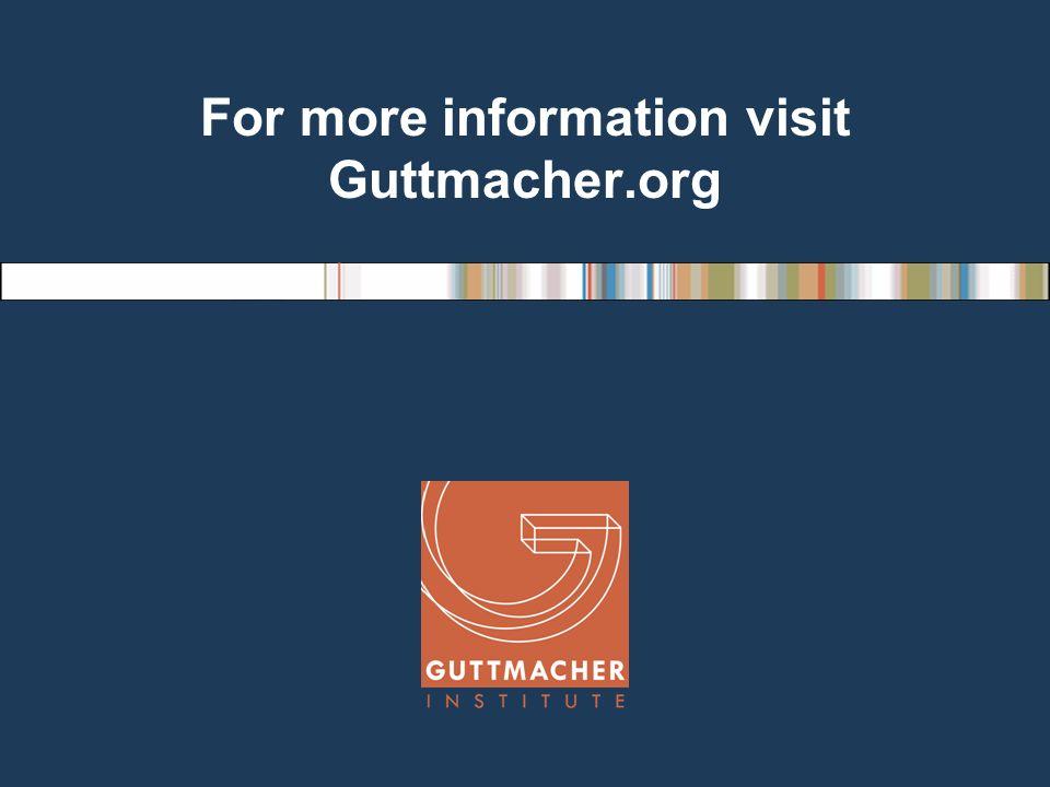 For more information visit Guttmacher.org