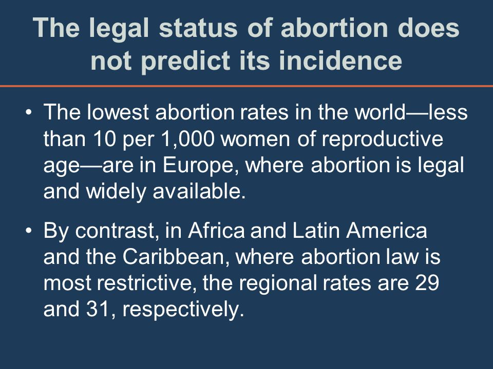 The legal status of abortion does not predict its incidence The lowest abortion rates in the worldless than 10 per 1,000 women of reproductive ageare