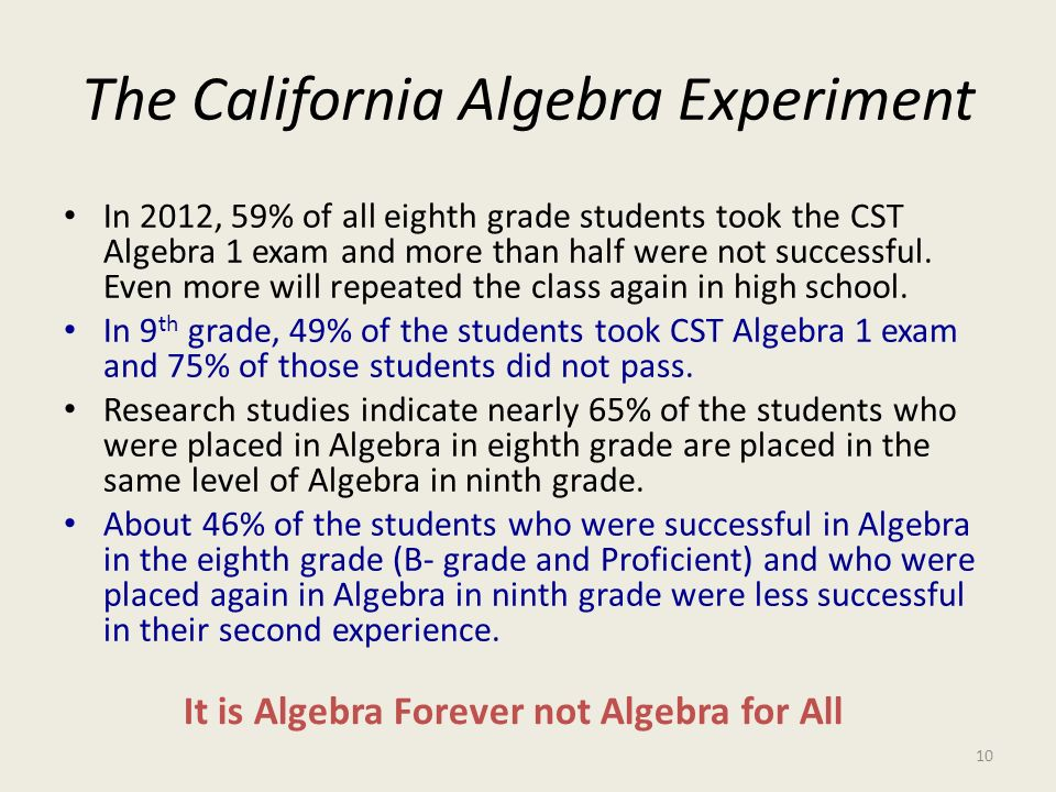 The California Algebra Experiment In 2012, 59% of all eighth grade students took the CST Algebra 1 exam and more than half were not successful. Even m