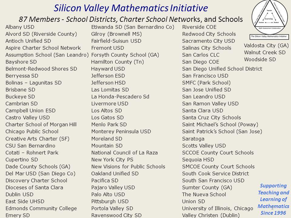 Silicon Valley Mathematics Initiative 87 Members - School Districts, Charter School Networks, and Schools Etiwanda SD (San Bernardino Co) Gilroy (Brow