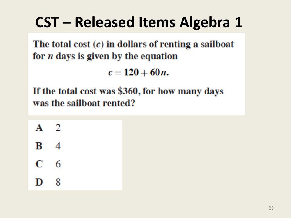 CST – Released Items Algebra 1 26