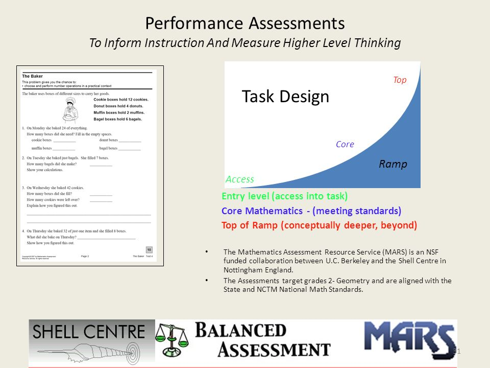 Performance Assessments To Inform Instruction And Measure Higher Level Thinking The Mathematics Assessment Resource Service (MARS) is an NSF funded co
