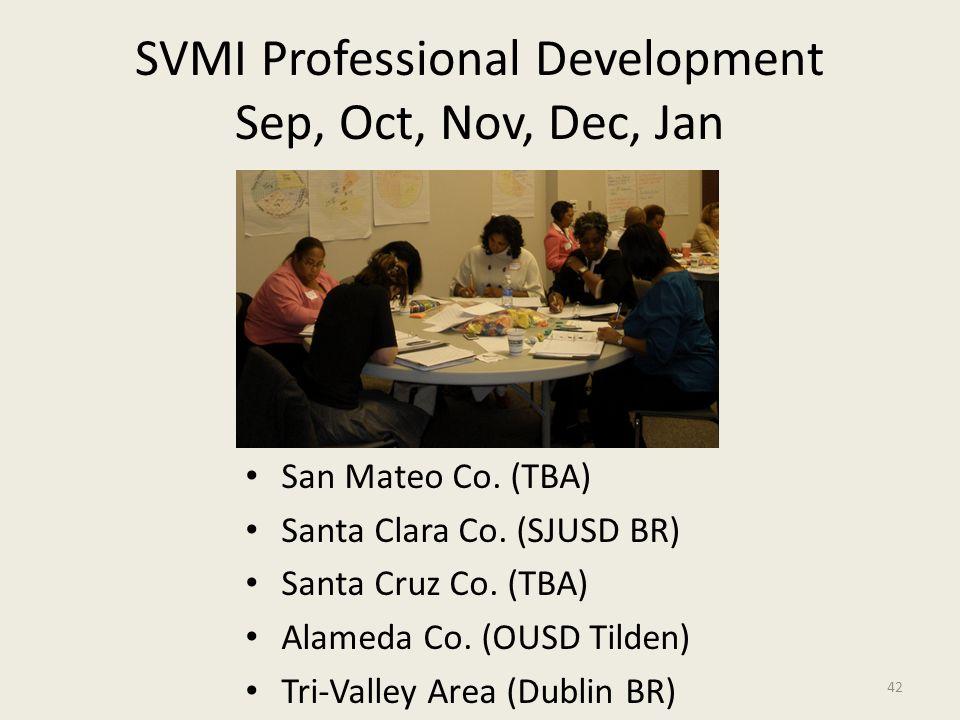 SVMI Professional Development Sep, Oct, Nov, Dec, Jan San Mateo Co. (TBA) Santa Clara Co. (SJUSD BR) Santa Cruz Co. (TBA) Alameda Co. (OUSD Tilden) Tr