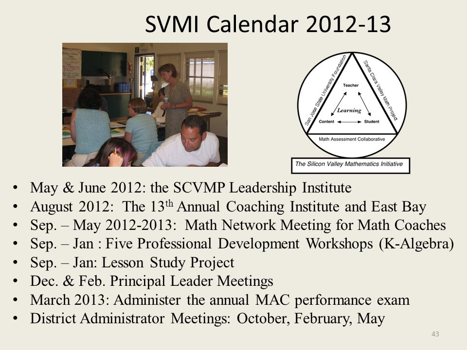 SVMI Calendar 2012-13 May & June 2012: the SCVMP Leadership Institute August 2012: The 13 th Annual Coaching Institute and East Bay Sep. – May 2012-20