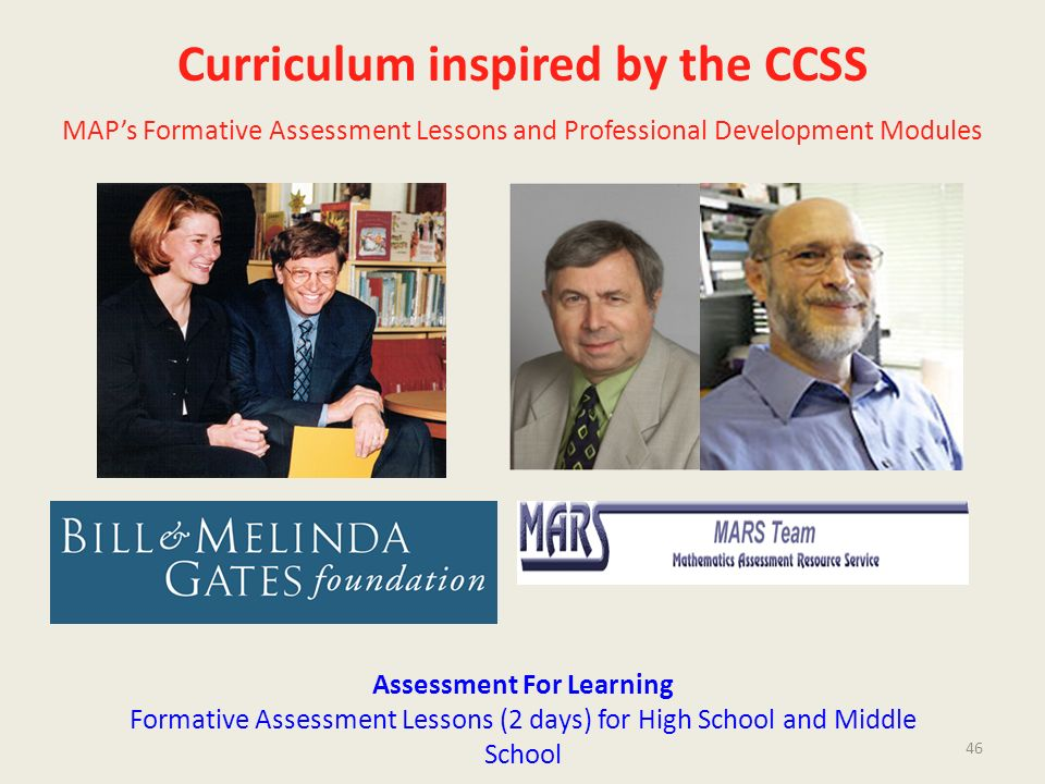 Curriculum inspired by the CCSS MAPs Formative Assessment Lessons and Professional Development Modules Assessment For Learning Formative Assessment Le