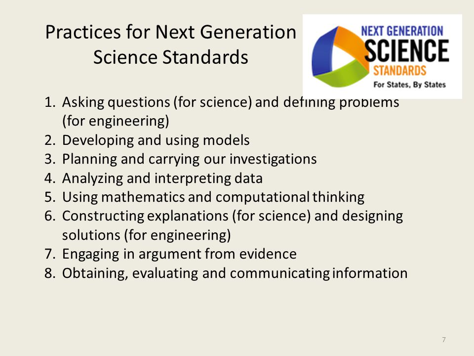 Practices for Next Generation Science Standards 1.Asking questions (for science) and defining problems (for engineering) 2.Developing and using models