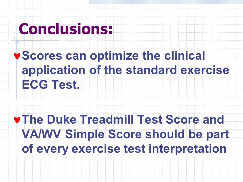 Conclusions: Scores can optimize the clinical application of the standard exercise ECG Test.
