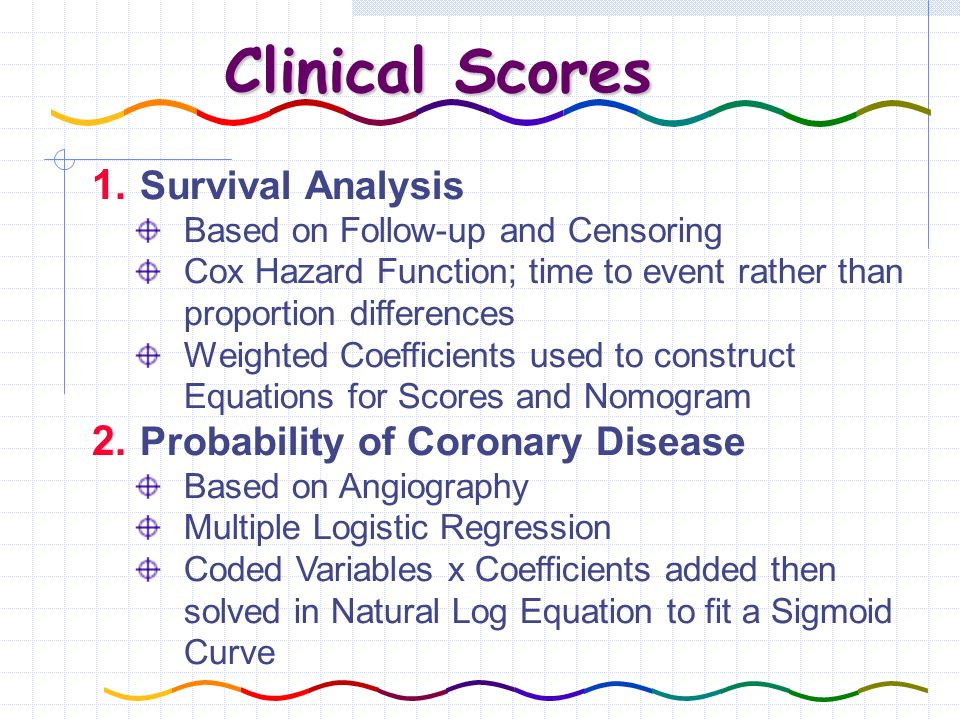 Clinical Scores 1. Survival Analysis Based on Follow-up and Censoring Cox Hazard Function; time to event rather than proportion differences Weighted C