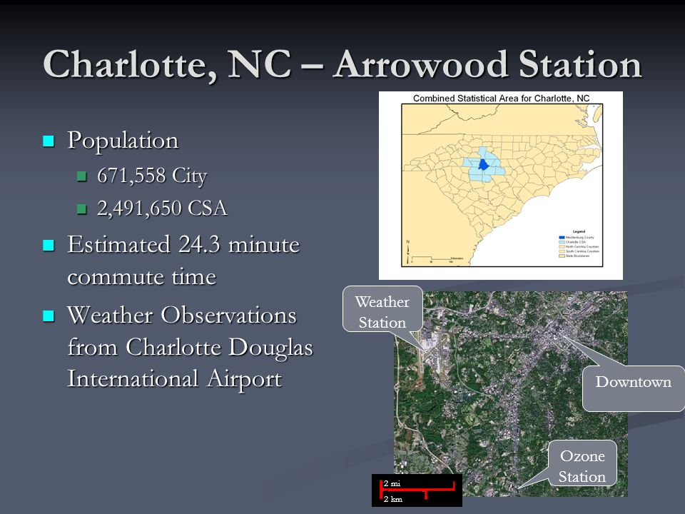 Charlotte, NC – Arrowood Station Population Population 671,558 City 671,558 City 2,491,650 CSA 2,491,650 CSA Estimated 24.3 minute commute time Estimated 24.3 minute commute time Weather Observations from Charlotte Douglas International Airport Weather Observations from Charlotte Douglas International Airport Weather Station Ozone Station Downtown 2 mi 2 km