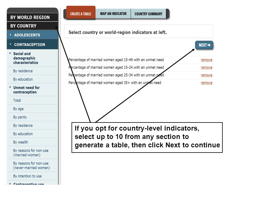 If you opt for country-level indicators, select up to 10 from any section to generate a table, then click Next to continue