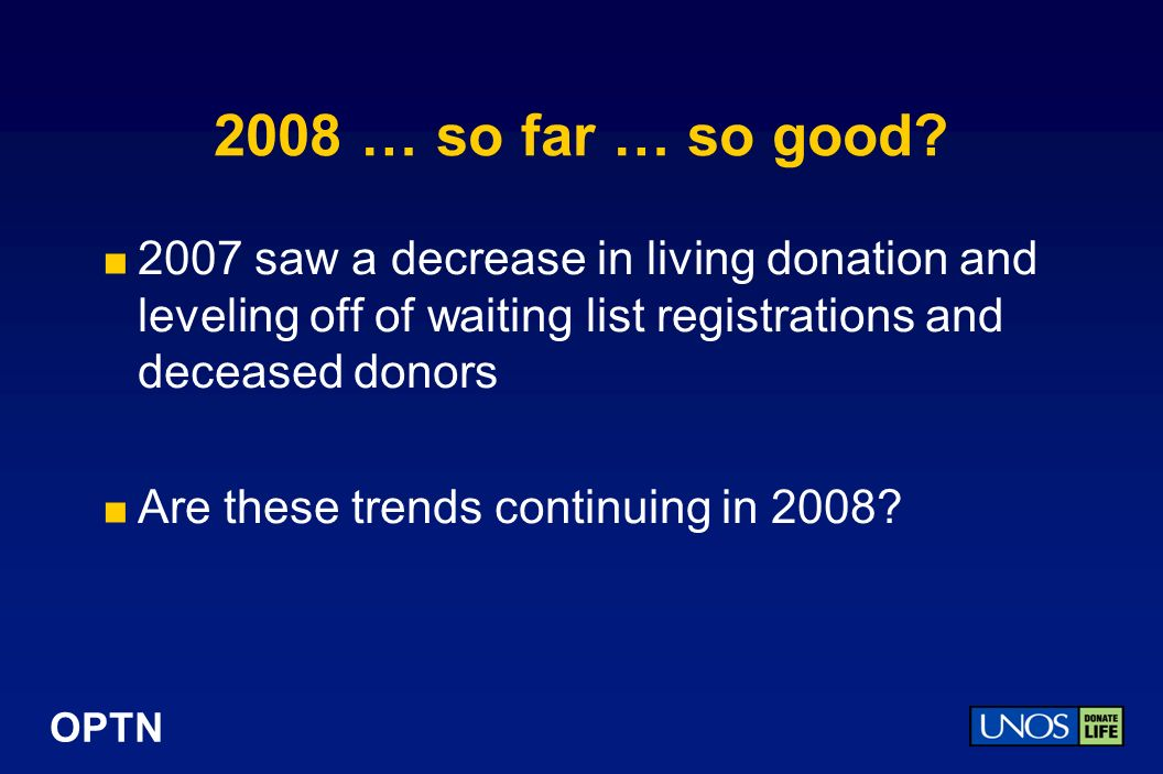 OPTN Living Donors Recovered by Month 2004 – July 2008 Region 4