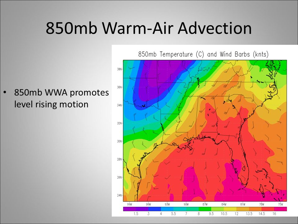 850mb Warm-Air Advection 850mb WWA promotes low- level rising motion