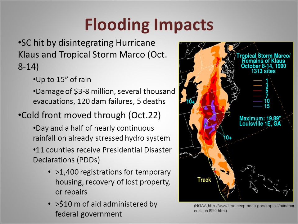 Flooding Impacts SC hit by disintegrating Hurricane Klaus and Tropical Storm Marco (Oct.