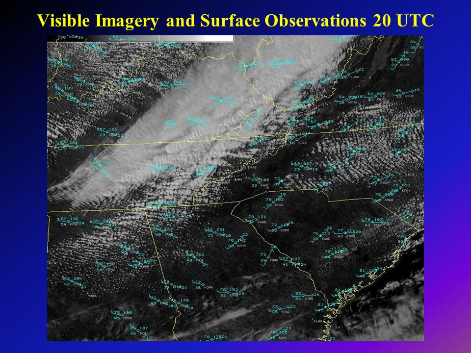 Visible Imagery and Surface Observations 20 UTC