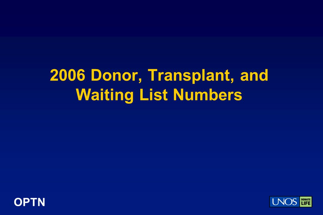 OPTN 2006 Donor, Transplant, and Waiting List Numbers