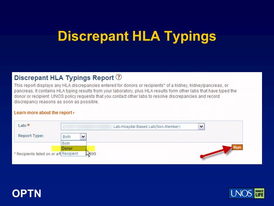 OPTN Discrepant HLA Typings