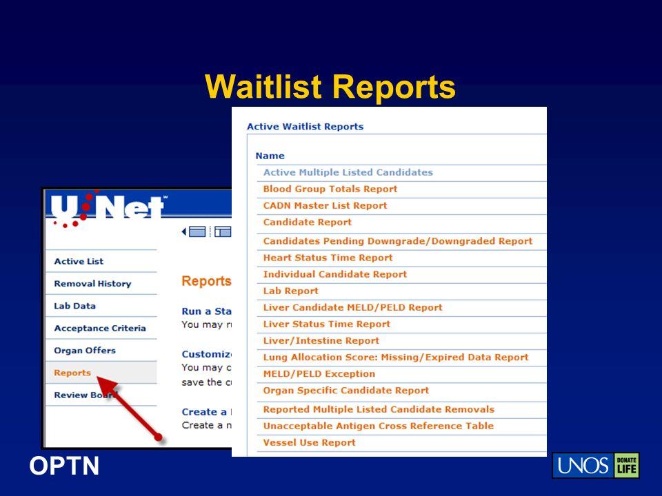 OPTN Waitlist Reports