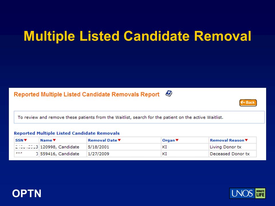 OPTN Multiple Listed Candidate Removal