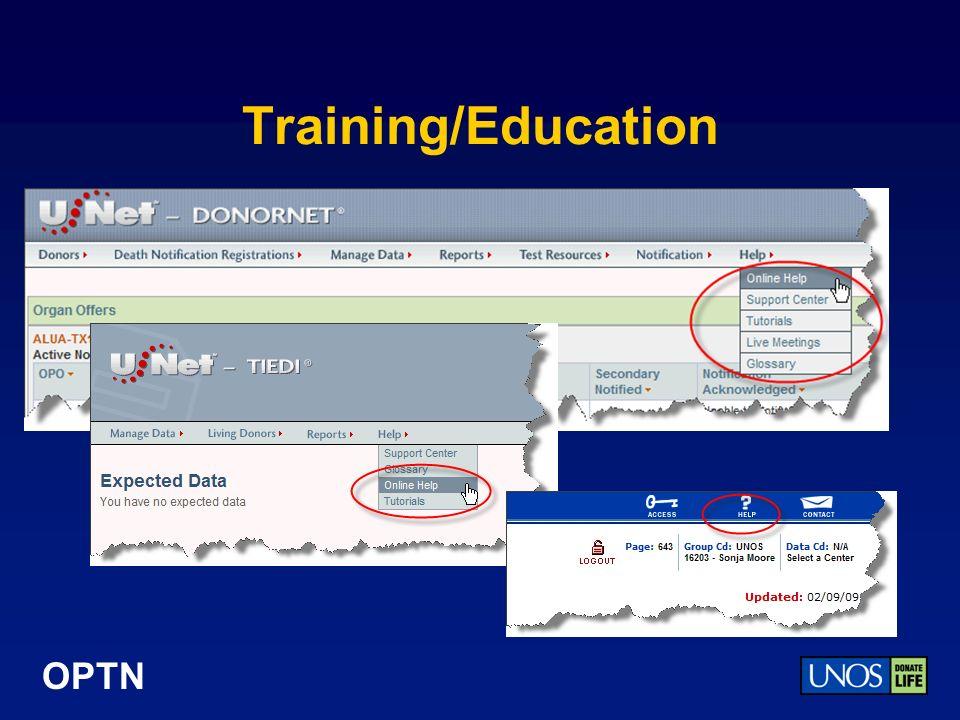 OPTN Training/Education