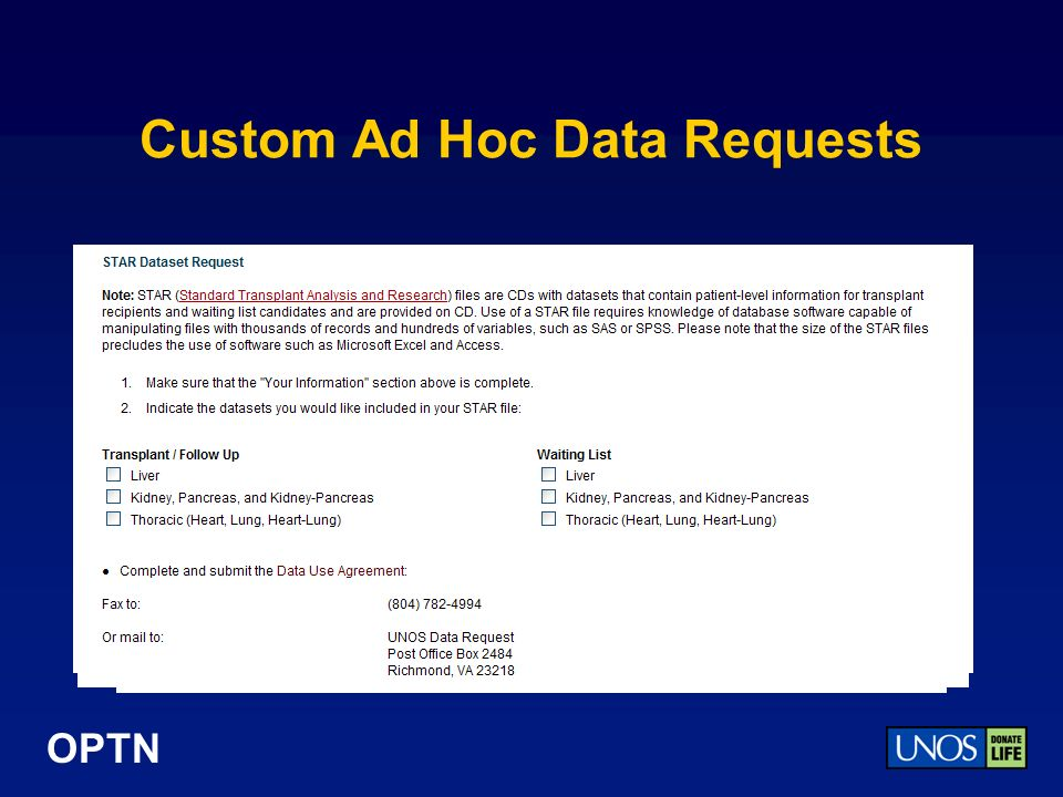 OPTN Custom Ad Hoc Data Requests