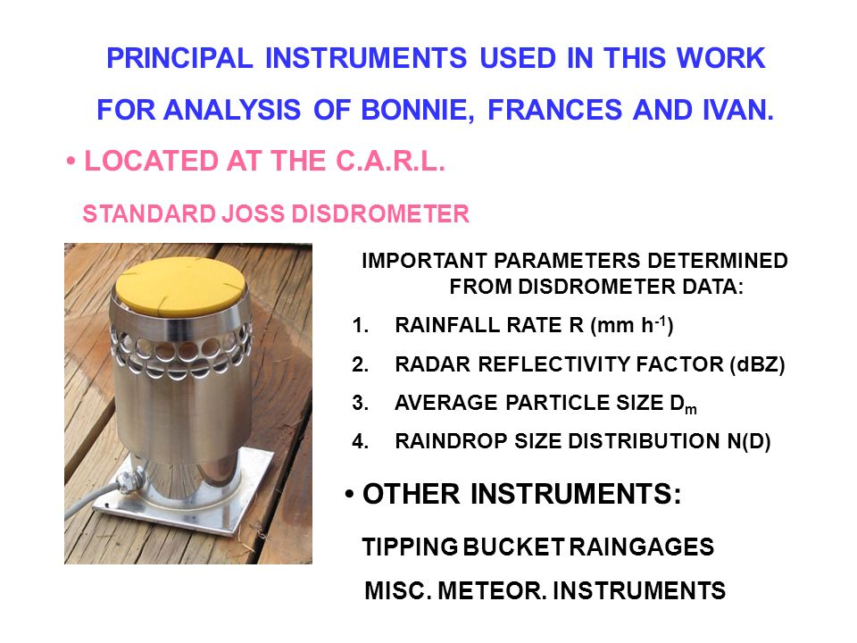 PRINCIPAL INSTRUMENTS USED IN THIS WORK FOR ANALYSIS OF BONNIE, FRANCES AND IVAN.