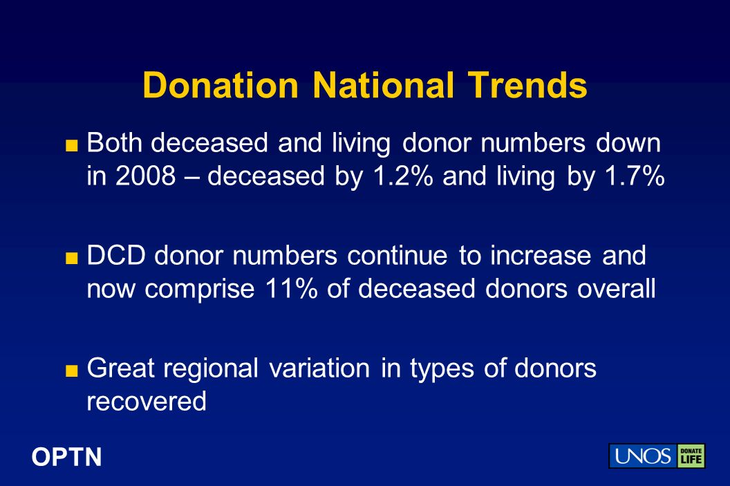 OPTN Donation National Trends Both deceased and living donor numbers down in 2008 – deceased by 1.2% and living by 1.7% DCD donor numbers continue to increase and now comprise 11% of deceased donors overall Great regional variation in types of donors recovered