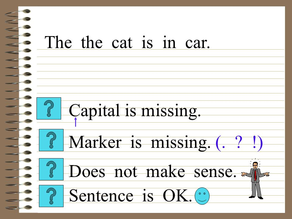 Capital is missing. Sentence is OK. Does not make sense. Marker is missing. (. ? !) The the cat is in car.