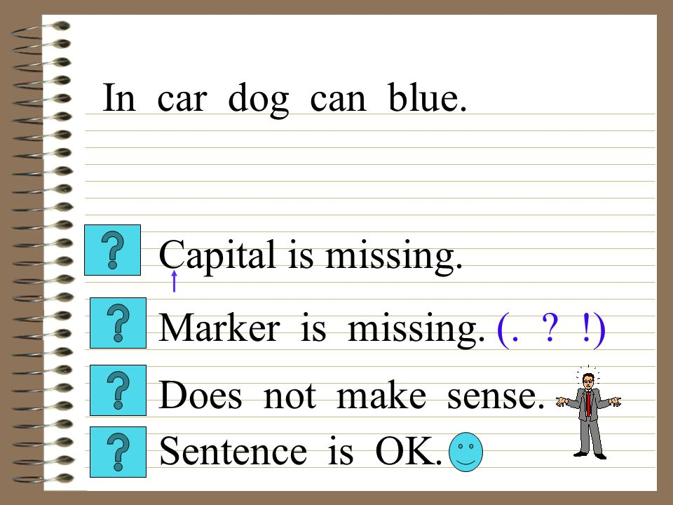 Capital is missing. Sentence is OK. Does not make sense. Marker is missing. (. ? !) In car dog can blue.