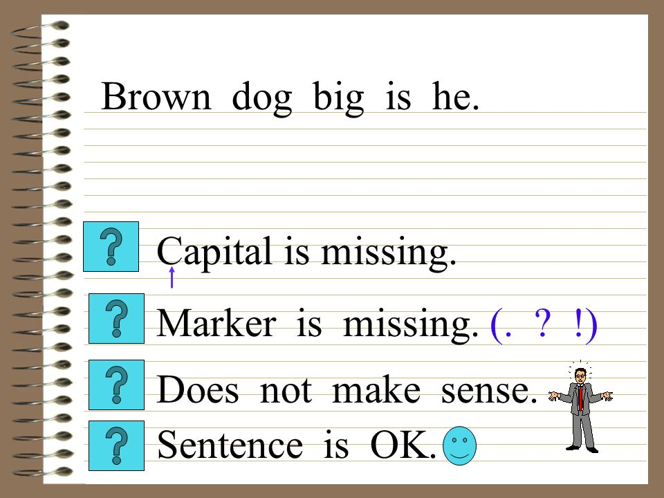 Capital is missing. Sentence is OK. Does not make sense.