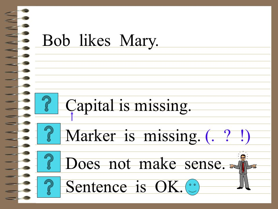 Capital is missing. Sentence is OK. Does not make sense. Marker is missing. (. !) Bob likes Mary.