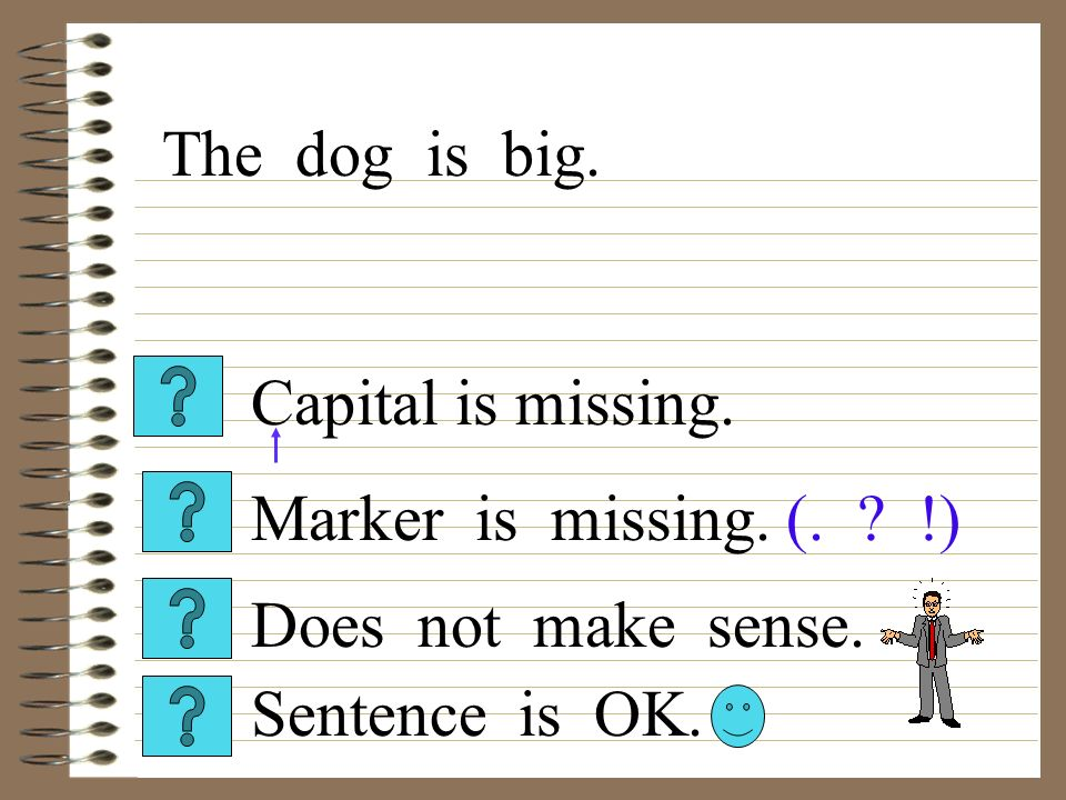 Capital is missing. Sentence is OK. Does not make sense. Marker is missing. (. !) The dog is big.