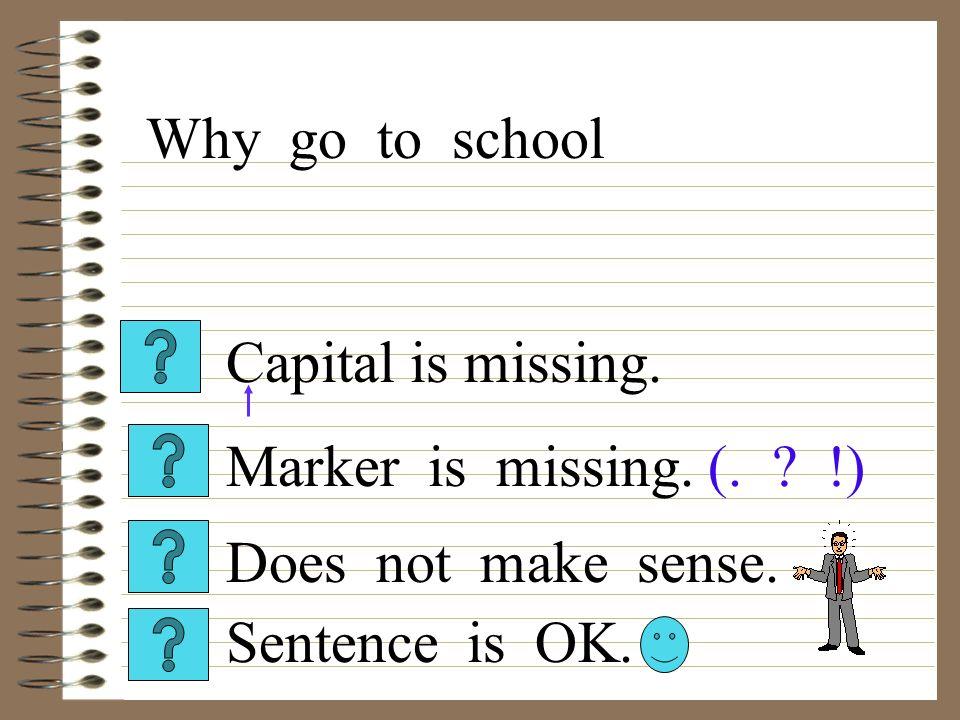 Capital is missing.Sentence is OK. Does not make sense.