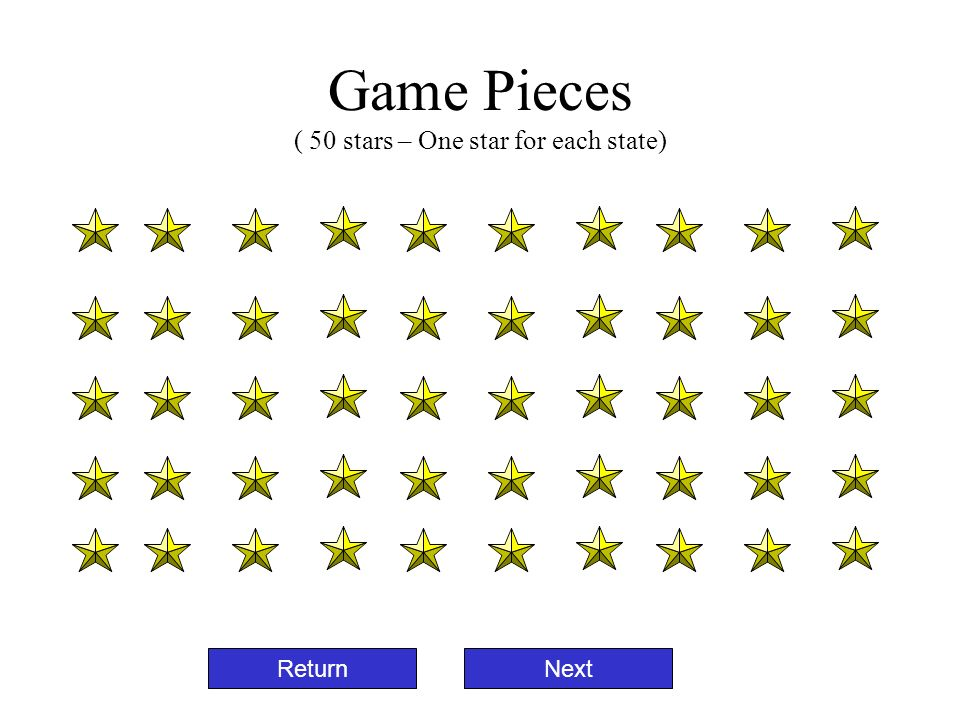 Game Pieces ( 50 stars – One star for each state) ReturnNext