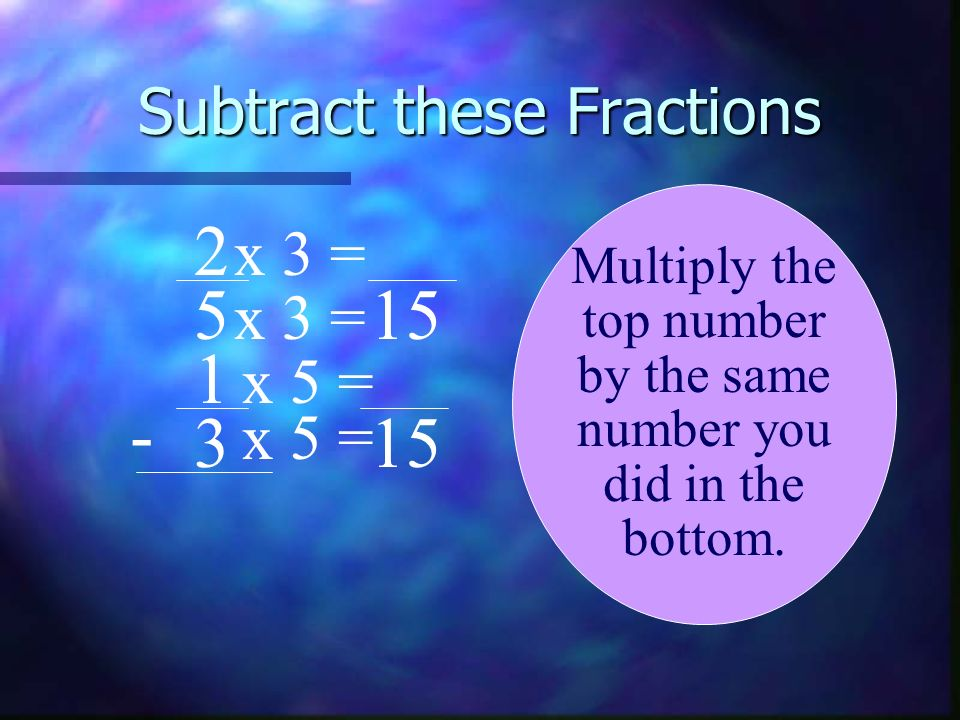 Subtract these Fractions 2 5 1 3 - Multiply the top number by the same number you did in the bottom. 15 x 5 = x 3 = x 5 = x 3 =
