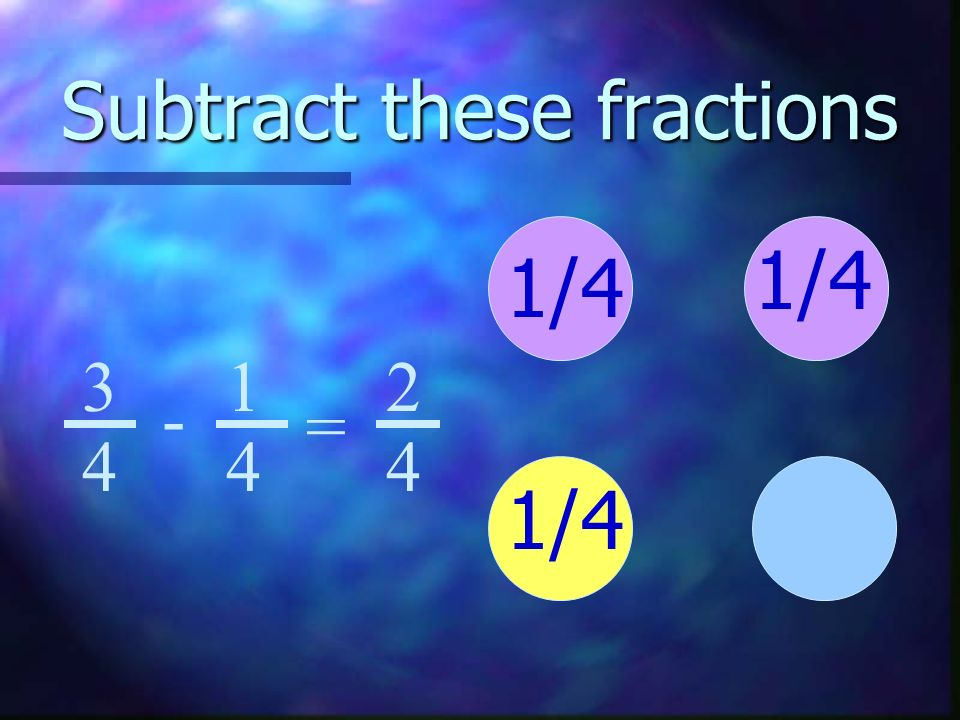 Subtract these fractions 1/ = 2 4