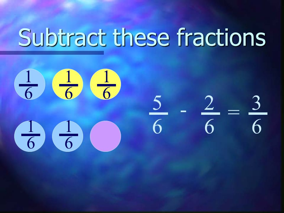Subtract these fractions 2 9 8 9 - = 6 9 413