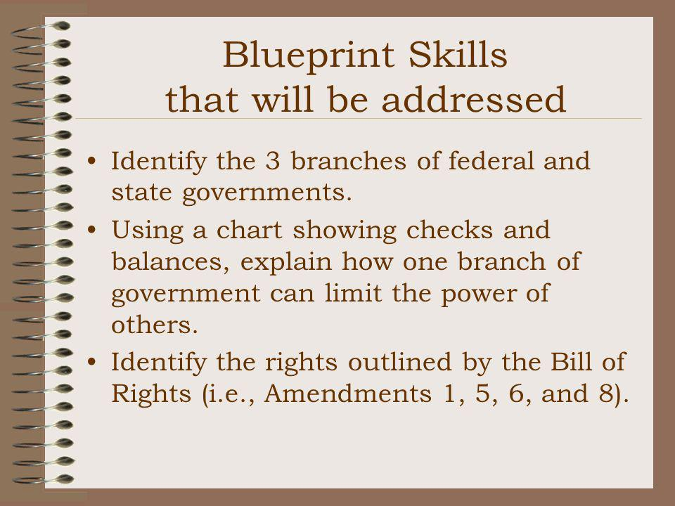 Blueprint Skills that will be addressed Identify the 3 branches of federal and state governments. Using a chart showing checks and balances, explain h